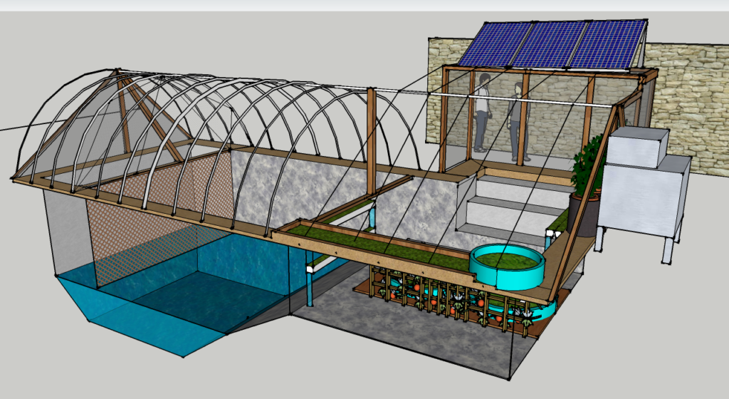 The Garden Pool in a simple 3D drawing to show size and general layout.