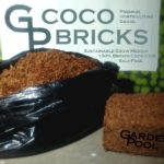 One coco brick (right) expands up to 6 times it's original compressed size! This is the perfect sustainable grow medium.
